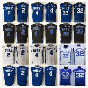 NCAA Hombre Hombre Duque Diablo Blue Devils Christian Laactner Jersey # 32 Blue 4 J.J. JJ Redick White 2 Quinn Cook College Basketball Jerseys