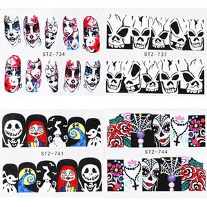 Nail Art Etiketler Su Transferi Yapışkan Çıkartmalar Cadılar Bayramı Filigran Nail Art Dekorasyon Manikür Dövme İpuçları 100 adet / grup