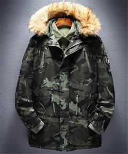 Camouflage-Print Herren Designer Baumwolle gefütterte Jacken Mode Mulit Taschen Zipper Panelled Mens Cotton Jacken Männer Kleidung