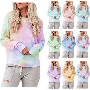 2020 Spring Autumn Womens Tie Dye Sweatshirt Hoodies Multicolor Casual Long Sleeve Round Collar Sweatshirt Loose Printed Tops Pull Hoodie