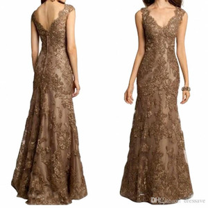 Элегантная мать Длина невесты платья V образным вырезом до пола бисером шнурка Аппликация вечера Mermaid мантий выполненного на заказ