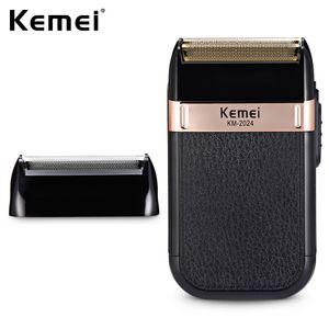 Kemei Электробритвы для мужчин Твин клинка Водонепроницаемый Поршневые Аккумуляторный Бритва USB аккумуляторная бритье машины Barber триммер