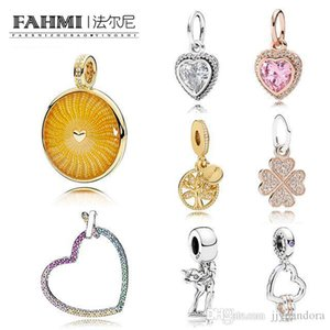 FAHMI 100% 925 Sterling Silver Classic Charm Shining Sun Colorful Rainbow Heart 18K Gold Tree of Life Rose Gold Clover Pendant Free Shipping