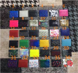 Brieftasche Black Card Neu in Europa und Amerika Rote Kante und Tasche Nagel Nails Perle Blau-Violette Tricolor Herren Leder Business Damen Karten Pack Qmkx