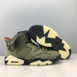 mit Box 2019 Mens-Basketball-Schuh-Turnschuh-6s Medium Olive Suede Outdoor Sport Schuhe für Herren-Trainer US7.5-13