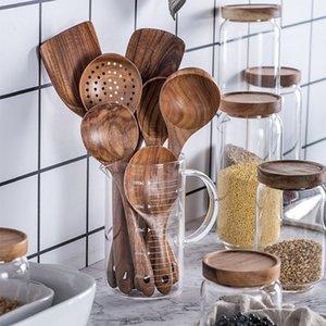 7pcs set Teak Natural Wood Tableware Spoon Ladle Turner Rice Colander Soup Skimmer Cooking Spoon Scoop Kitchen Reusable Tool Kit