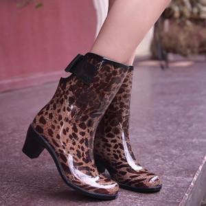Leipard donne sexy stivali da pioggia in gomma pattini impermeabili della piattaforma alto tacco quadrato sexy tacco Stivali Torna fibbia Snow Boots