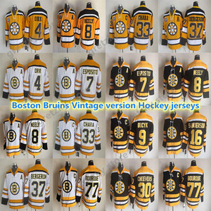 Men's Boston Bruins CCM Vintage jerseys 33 CHARA 4 ORR 8 NEELY 37 BERGERON 77 BOURQUE 9 BUCYK 7 ESPOSITO Throwback Hockey Jersey