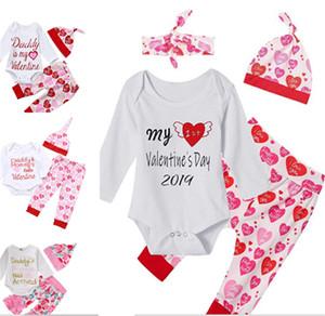 아기 여자 발렌타인 데이 복장 아빠는 내 발렌타인 의류 세트 부티크 유아 긴 소매 장난 꾸러기 모자 붉은 심장 바지 유아 3PCS 세트입니다