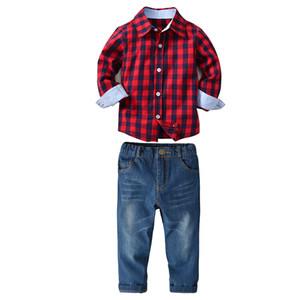 2 PCS New fashion boys cotton plaid red shirt+ blue solid jeans clothing set children long sleeve shirt