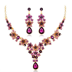 New Colorful Rhinestone Bridal Wedding Jewelry Set necklace earrings red blue purple green fashion wholesales Wedding Accessories Free DHL