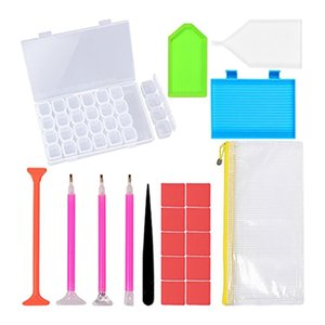20pcs 5D DIY Acessórios Kits 28 Slots de diamante Pintura Tools Box Art Craft stylo diamante bordado Tray Box define # T2