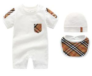 Verão infantil do bebê roupas de grife rompe luxo crianças jumpsuits + tampa + bib 100% algodão roupas meninas recém-nascido romper menino