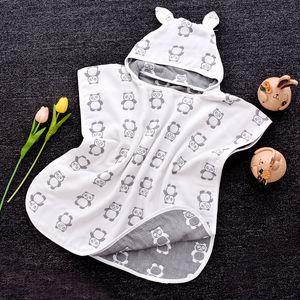 Gazlı bez Pamuk Çocuk Banyo Havlu Bebek Ürünleri Pamuk Kapşonlu Bebek Cloak Bornoz toptan Altı Katmanlar