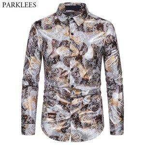 Paisley Floral Print Bronzing Mens Shirt Casual Slim Fit Men Long Sleeve Shirts Button Up Shirt for Men Party Dance Clothes