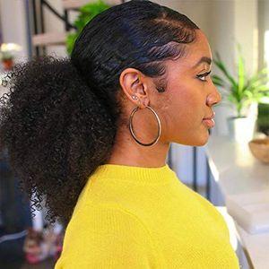 Африканские афро короткие кудрявые вьющиеся оберточная бумага шнурок слоеный хвост булочка расширение 100% бразильский человеческих волос большой круглый хвост шиньоны