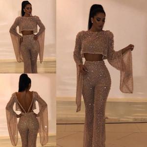 Золото с блестками две штаны выпускного вечера костюмы костюмы платья оболочка с длинными рукавами плюс размер вечерние платья вечерние платья на заказ BC0240