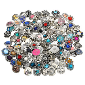 Rétro 18MM Bouton métal strass Haute Qualit Mixte Style snap Chunk Diy Bijoux Fit For bouton Noosa Snap Chunk Charm Bracelet