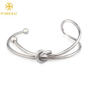 FINE4U B340 нержавеющей стали Love Heart Knot Уникальный Открытый браслет Модный Классический Tie Pulseira