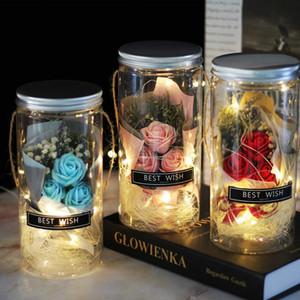 Bottiglie Sapone Rose Sapone fiore di plastica LED di nozze fiore artificiale San Valentino madri regalo di Natale Giorno