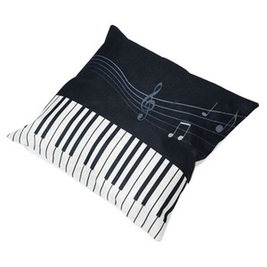 Music Series Billet imprimé Linge Place 45x45cm Home Décor Coussin Houseware Coussin Throw Cojines Oreillers # 8 Taie d'oreiller