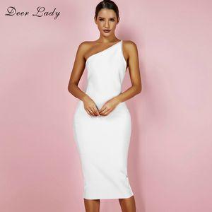 Deer Lady Women Bandage Dress 2018 Summer One Shoulder Sexy Bandage Dress Midi Nero Backless Bodycon Bianco XL