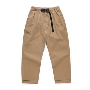 Ayak bileği uzunlukta Patenci Pantolon Haki Konik kabartılmış Kargo Pantolon Elastik Bel Japon Streetwear