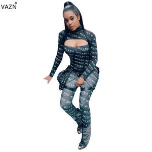 VAZN 2019 Printemps Haute Qualité Femmes Combinaisons Longues Lette O-cou Pleine Manchon Creux De Sexy Maigre Moulante Barboteuse SMD5809