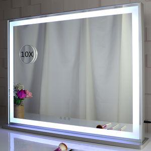 Hollywood führte Vanity Licht Spiegel Raumtisch kosmetische Schminkspiegel mit Tageslicht und warmen Lichter Streifen stehen Dressing