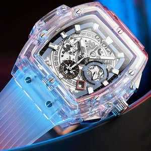 ONOLA brand designer di plastica della vigilanza degli uomini 2019 casuale unica di lusso del quarzo orologio da polso maschile quadrato trasparente bianco Sport Men Watch