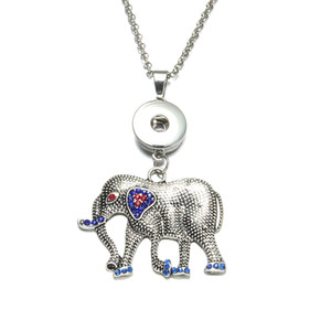New Arrival 24pcs lot 6 styles elephant animal pendant necklaces for women with snake chain fit 18mm snap button jewelry XL0309