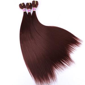 3 قطعة / الحزمة الحرير مستقيم الاصطناعية أومبير الشعر ينسج مع أفضل نوعية 16 18 20 بوصة طويلة خياطة في الشعر ضعف تعادل التمديد