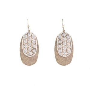 Two Tone Filigree Messing Oval Tropfen Statement Ohrringe für Frauen Ausschnitt Hohle Sunflower Geometric Schmuck Accessoires