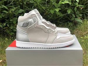 2020 Shoes New Authentic 1 High OG Japão 2001 2020 CO.JP Basquetebol Neutral Grey Branco Prata metálica 1S Homens Sports Sneakers com caixa
