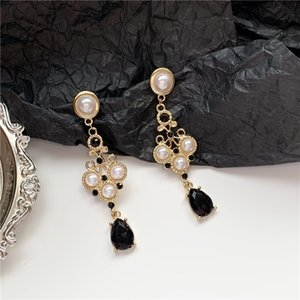 Hot sale S925 silver needle Korean temperament simple and elegant pearl water drop earrings girl retro Hong Kong style earrings