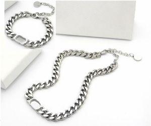 Europe America Jewelry Sets Lady Titanium Steel Engrave D Letter 18K Gold Thick Chain Necklaces Bracelets Sets 3 Color