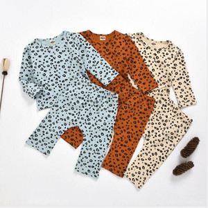 Kids Clothes Baby Leopard Printed Sweater Clothing Sets Summer Girls Long Sleeve Shirts Pants Suits Spring Payamas Homewear Sleepsuit BYP639