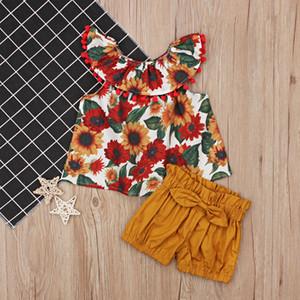Ins kids designer clothes Newborn Toddler Summer Baby Girls Sleeveless Collar Flower sunflower Top+Bow Shorts 2pcs Set A60