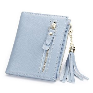 Charm2019 Short Ma'am Head Layer Cowhide Concise Thin Woman Fund Tassels Wallet Tide