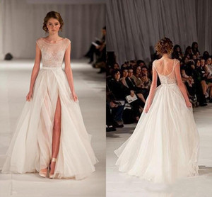 2019 New Slit Elie Sheer Backless Abendkleider Flügelärmeln Perlenstickerei Lange Tüll Prom Kleider mit Side Saab Abendkleid 167