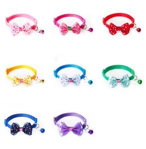 Popüler Evcil Köpek ilmek Tie Kravat Ayarlanabilir Charm Mini Bell Noktalı Baskılı Kedi Köpek Yaka Pet Köpek Kolye Çok Renkli 1 15sr E1