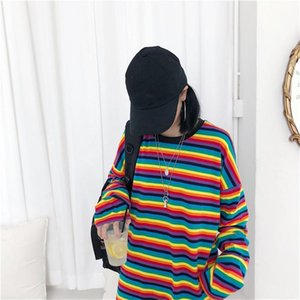 Радуга Stripe T Shirt Spring Harajuku Женский хлопок рубашка с длинным рукавом Плюс Размер Tshirts женщина Корейский Tops Женственный Горячие Продажа