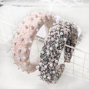 Coreia do Sul INS online celebridade-Europa E América lã prego Pérola Sponge Headband Moda mantilha C548