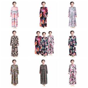 Fashion Girl Floral longue robe bohème manches longues enfants princesse robe de bébé Vêtements pour enfants Fleur Imprimer Robe de plage RRA3118