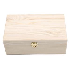 صندوق خشبي التخزين دخول اللون الصنوبر مستطيل الوجه الصلبة الخشب علبة هدية الحرف اليدوية حالة مجوهرات