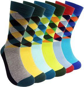 Uomo vestito variopinto Calze Argyle - Uomini multicolore Argyle modello in cotone moda Fun Crew Socks