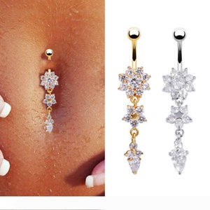 Sell like hot new Europe and the United States navel piercing navel ornaments drop flower shape pendant set drill navel nail
