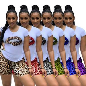 2 шт Sweatsuit одежда женщин 2020 O шеи с коротким рукавом Узор Футболка И Байкер Leopard Print Short Lounge Wear Matching Set