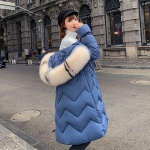 Por la chaqueta chaqueta de invierno Nueva Versión Coreana Women2019 TYJTJY moda de las mujeres de la capa del algodón acolchado Loose La larga de las mujeres
