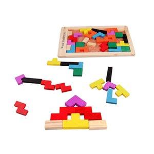 Komik Eğitim Oyuncak Ahşap Yapı Taşları Eğitim Hayal Renkli Tetris Blokları Geliştirme Oyuncak Hediye Yazım